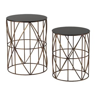 Agatha 2 Piece Drum Side Table Set by Foundry Select