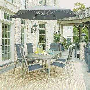 Red Barrel Studio Dinan Outdoor 7 Piece Dining Set with Umbrella