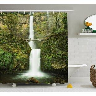 Hobbits Falls of Rivendell Multnomah Waterfall Oregon With Hobbit Elf Path Bridge Scene Image Shower Curtain
