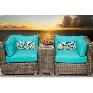 TK Classics Cape Cod 3 Piece Conversation Set with Cushions