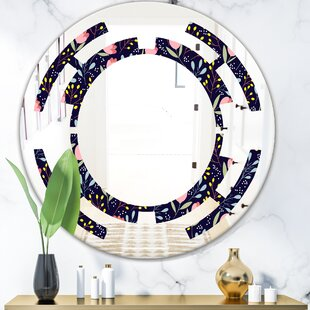 Handdrawn Flowers Space Cottage Americana Frameless Wall Mirror by East Urban Home