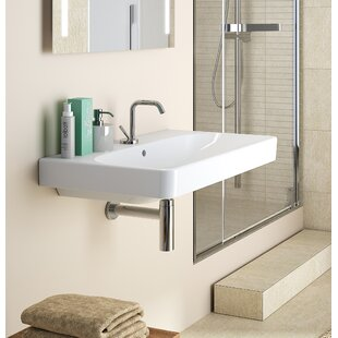 Big Save Smyle Vitreous China 36 Wall Mount Bathroom Sink with Overflow By Bissonnet