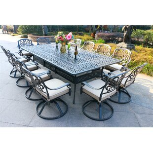 Banda Aluminum 13 Piece Sunbrella Dining Set with Sunbrella Cushions by Canora Grey
