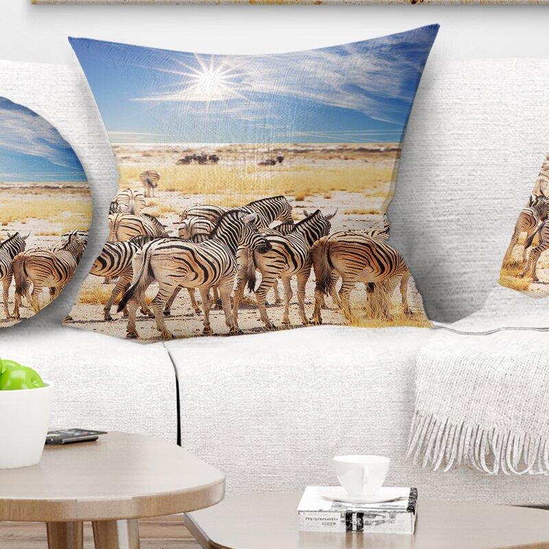 East Urban Home African Beautiful Herd Of Zebra On Bright Day Pillow Wayfair