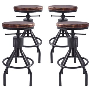 Verdell Backless Adjustable Height Bar Stool - set of 4 (Set of 4) by 17 Stories