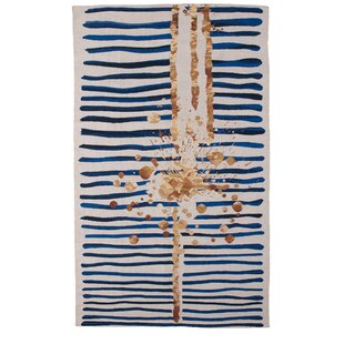 Inexpensive Champlon Hand-Woven Blue/White Area Rug By Mercer41