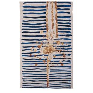 Best Champlon Hand-Woven Blue/White Area Rug By Mercer41