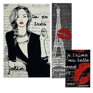 Reviews Chrystal 3 Piece Paris Love Black Area Rug Set By Mercer41