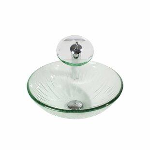 Arsumo Glass Circular Vessel Bathroom Sink with Faucet