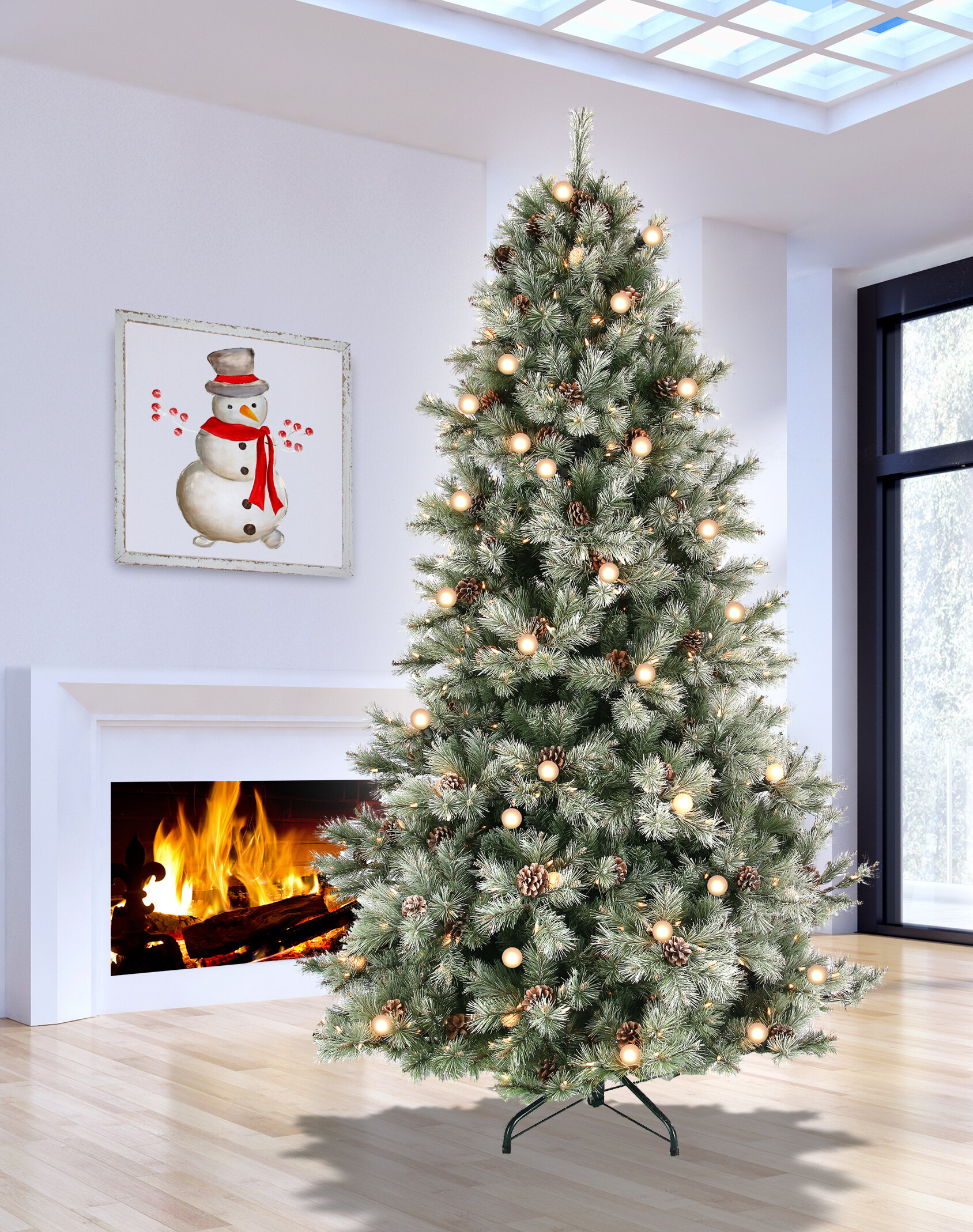 The Holiday Aisle Lit 7 5 Green White Pine Artificial Christmas Tree With 650 Clear Lights Wayfair
