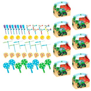 56 Piece John Deere Johnny Tractor 8 Guest Plastic Disposable Party Favor Set