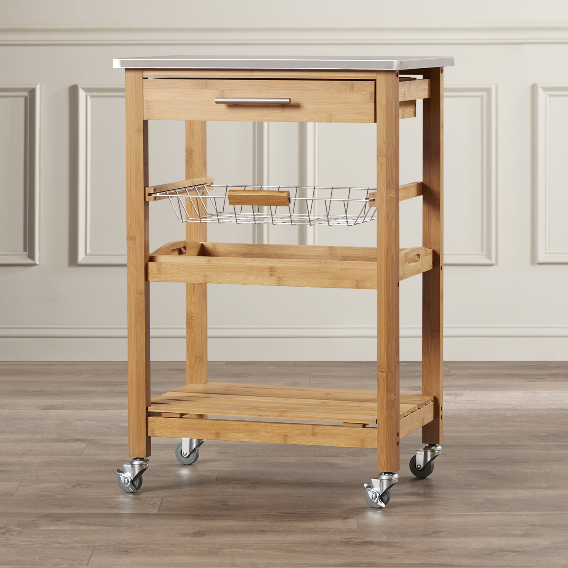 Servin Kitchen Cart with Stainless Steel Top