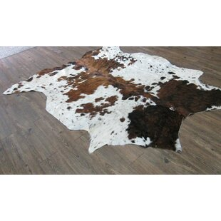Deals Whitman Hand-Woven Cowhide Brown/White Area Rug By Loon Peak