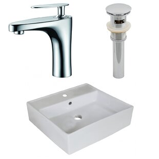 Royal Purple Bath Kitchen Above Counter Ceramic Square Undermount Bathroom Sink with Faucet and Overflow