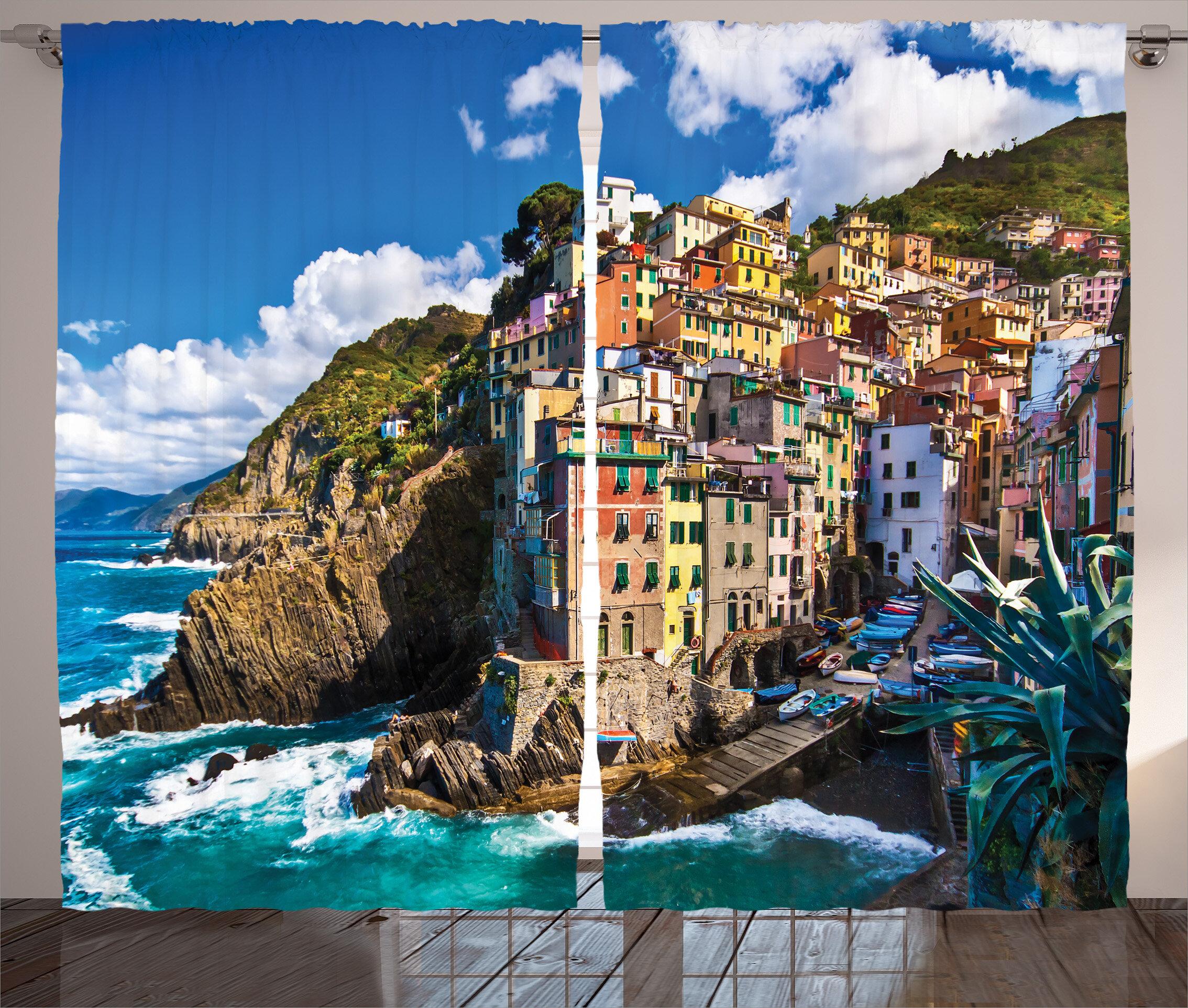Latitude Run Nash Italian Mediterranean House Decor Graphic Print Room Darkening Rod Pocket Curtain Panels Wayfair