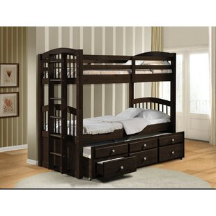Stoughton Wooden Twin over Twin Bunk Bed with Trundle and 3 Drawers