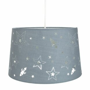 Fun Rockets and Stars 32cm Linen Drum Pendant Shade by Happy Homewares