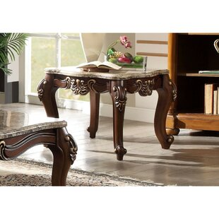 Sturgill Square Marble Table Carved Floral Motifs Wooden Feet Top End by Astoria Grand