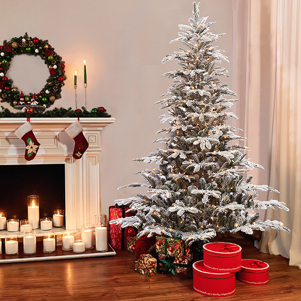 Pre lit Aspen Flocked 7 5 White Green Fir Trees Artificial Christmas Tree with 700 Warm White Lights
