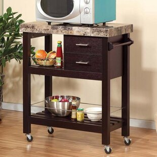 Fleur De Lis Living Hosking Kitchen Cart with Faux Marble Top