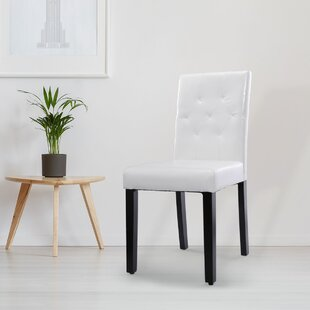 Aamora Upholstered Dining Chair in White Set of 4 by Latitude Run