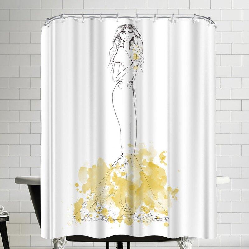 East Urban Home Alison B Party Gold Shower Curtain   Wayfair