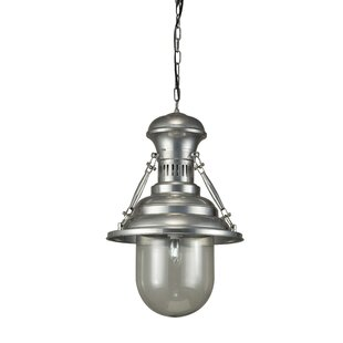 Maloney Pewter 1-Light Cone Pendant by Breakwater Bay