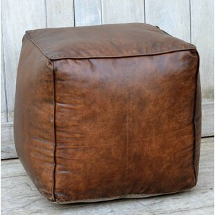 Dillow Leather Pouf by 17 Stories