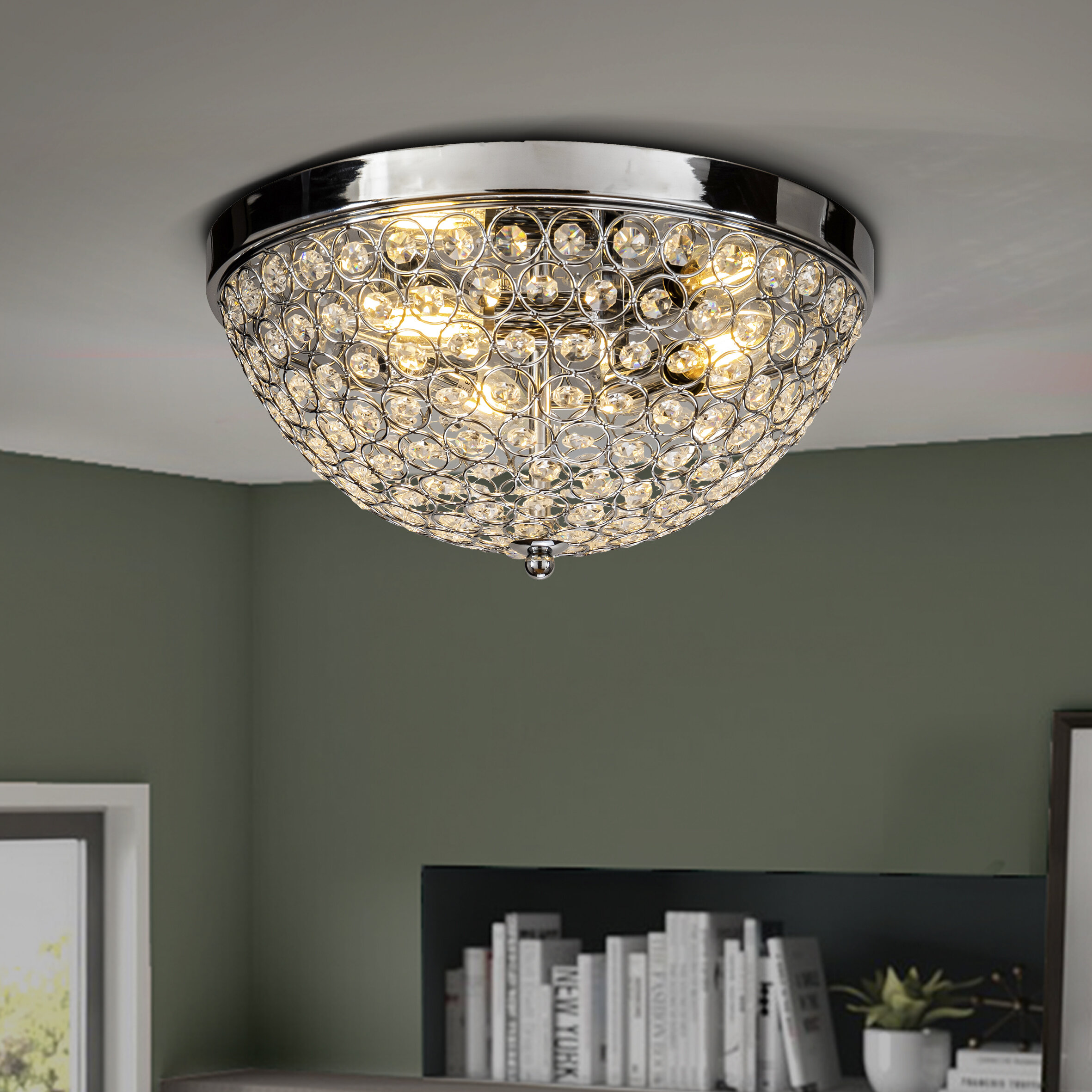 Crystal Accents Silver Chrome Shade Flush Mount Lighting You Ll Love In 2021 Wayfair