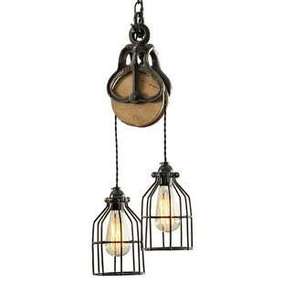 West Ninth Vintage Industrial Wood and Steel Barn 2-Light Cascade Pendant