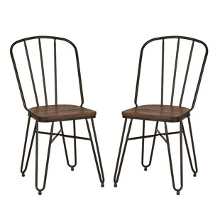 Williston Forge Hilson Industrial Solid Steel Dining Chair (Set of 2)