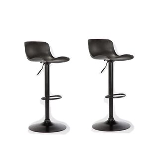 Athanasius Swivel Adjustable Height Bar Stool Set of 2 by Latitude Run