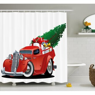 Christmas American Truck with Tree Shower Curtain + Hooks