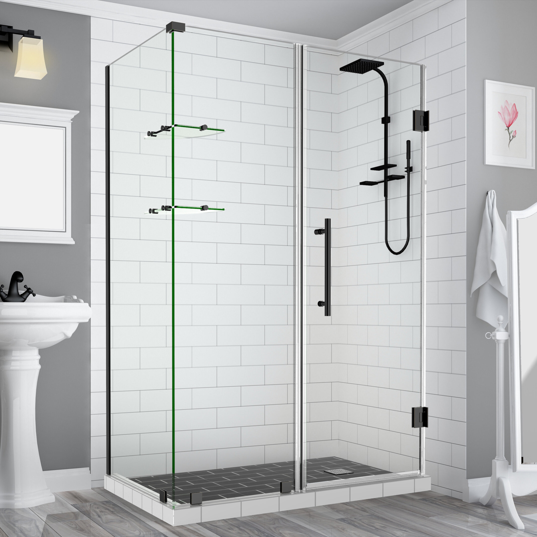 Bromleygs 64 25 To 65 25 X 30 375 X 72 Frameless Corner Hinged Shower Enclosure With Glass Shelves In Matte Black