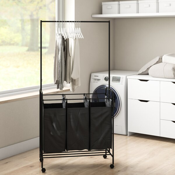 Black Rolling Laundry Cart with Hanging Bar and Wheels Black 4-Bag Heavy Duty Divided Laundry Sorter