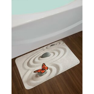 Butterfly Zen Rock on the Sand Butterfly Serenity Life Cycle Nature Meditation Theme Non-Slip Plush Bath Rug