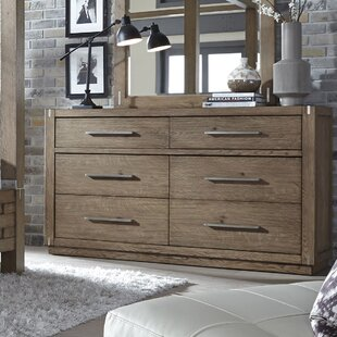 Best Price Harvey 6 Drawer Double Dresser with Mirror by Gracie Oaks