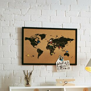 Woood map cork board wayfair world map wall mounted pin board gumiabroncs Image collections