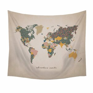 Tapestries youll love wayfair adventure await map tapestry and wall hanging gumiabroncs Image collections