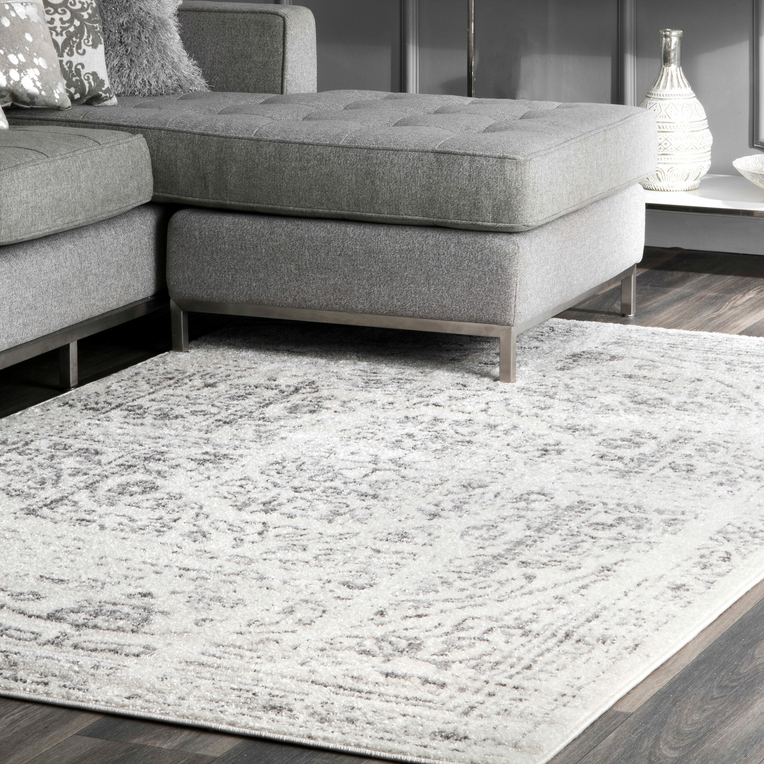 Picture of: Lark Manor Olvera Grey Area Rug Reviews