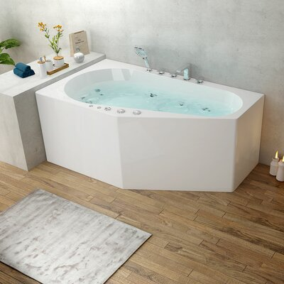"Decoraport 67"" x 34"" Corner Whirlpool Bathtub"