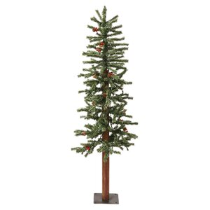 4' Green Alpine Berry Artificial Christmas Tree with 150 LED White Lights and Frosted