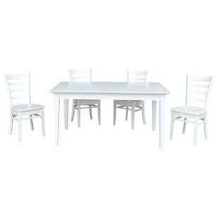 Chastain 5 Piece Extendable Solid Wood Dining Set Rosecliff Heights