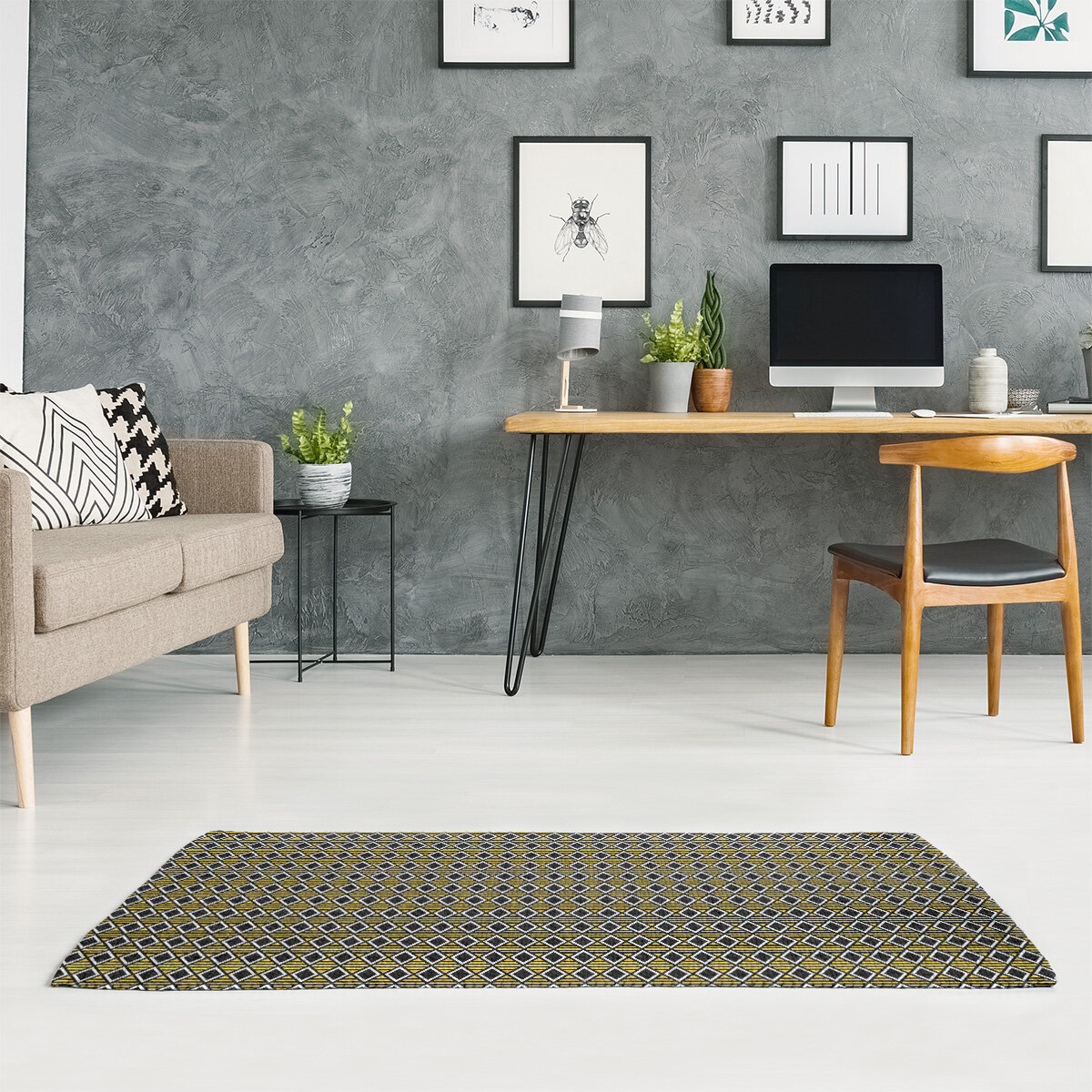 East Urban Home Classic Geometric Diamonds Dark Olive Green Area Rug Wayfair
