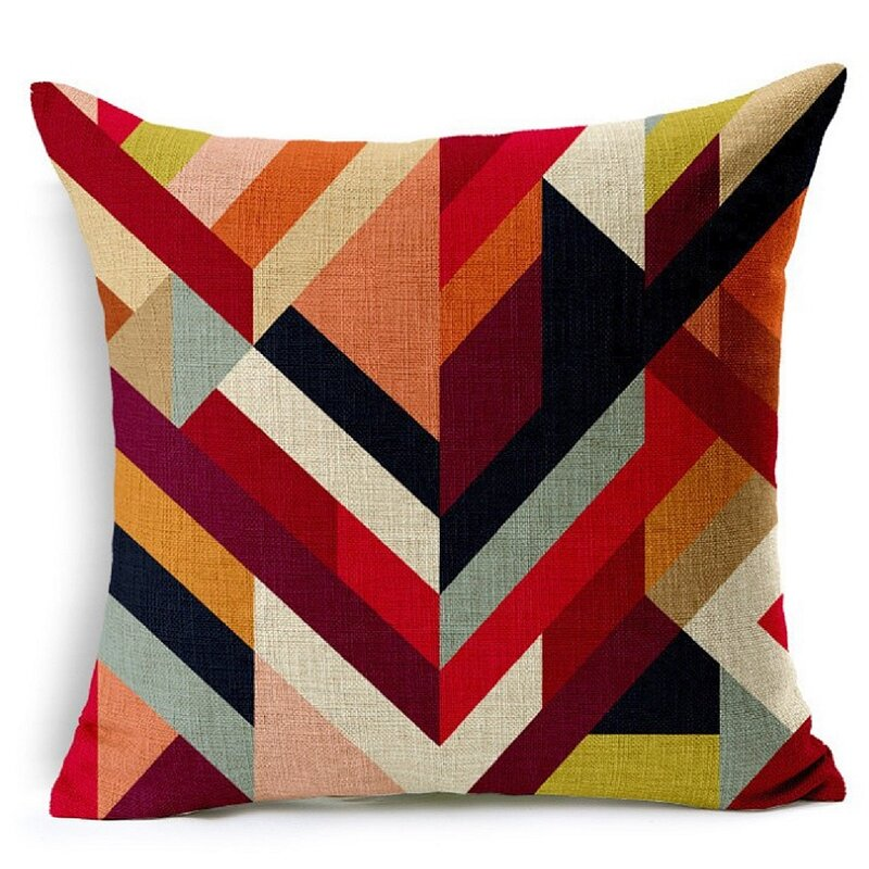 "Marcela Geometric Links Accent Decorative 10"" Square Pillow Cover"