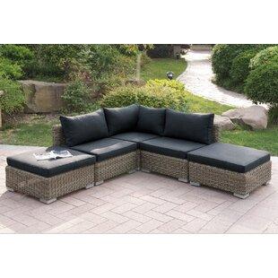 A&J Homes Studio Harvey 5 Piece Patio Sectional Set I with Cushions