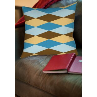 Bold in Blue Argyle Printed Throw Pillow