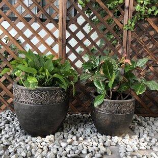 Charlton Home Orford Round Fancy Rim Wash 2-Piece Pot Planter Set