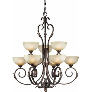 Bordeaux 9-Light Shaded Chandelier by Fleur De Lis Living