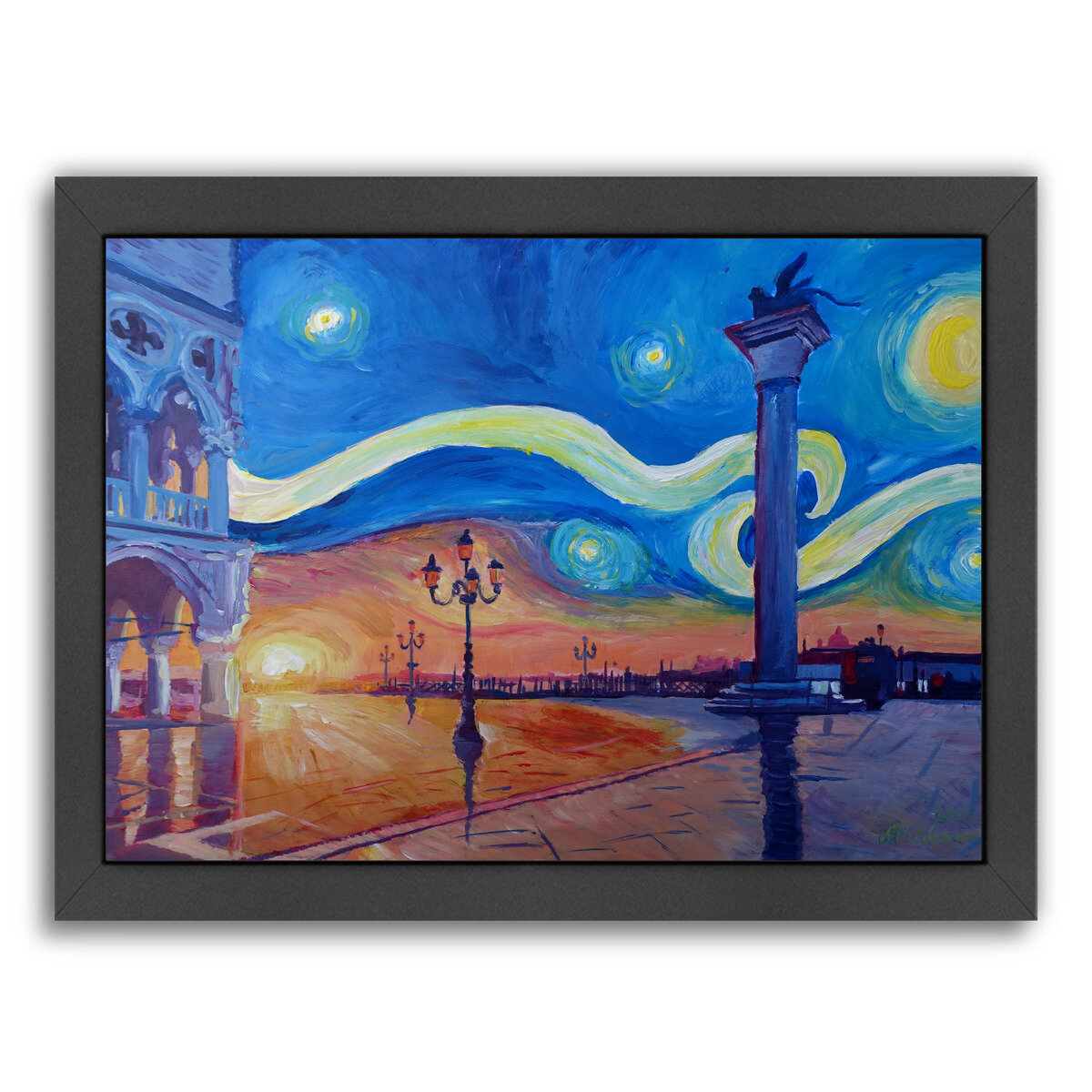 East Urban Home Starry Night In Venice Italy San Marco With Lion Framed Painting Print Wayfair
